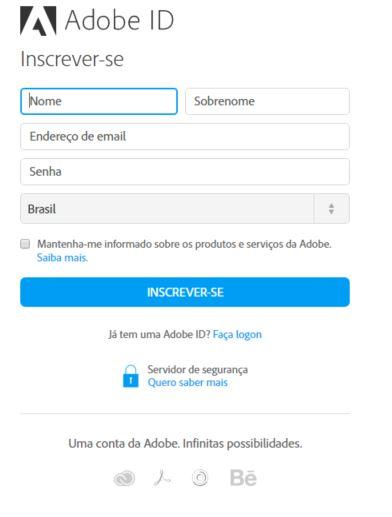 Criar Login Adobe