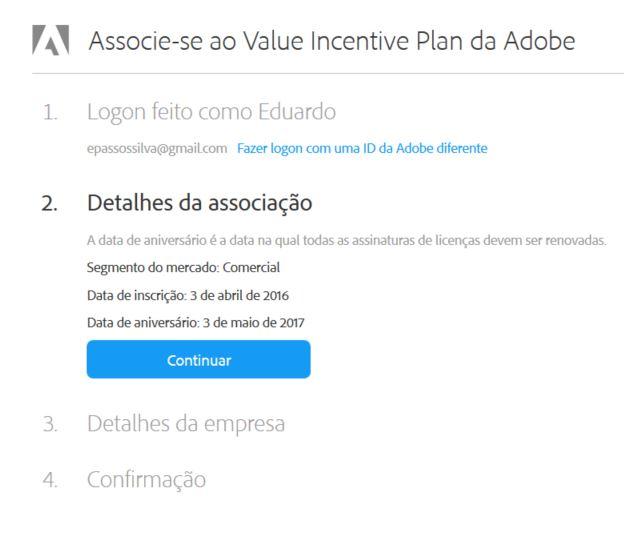 Detalhes con do Adobe Creative Cloud