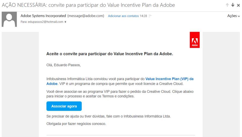 Email de convite para ativação Adobe Creative Cloud